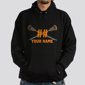 Personalized Crossed Lacrosse Sticks Orange Hoodie