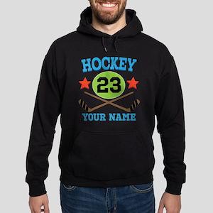 Personalized Hockey Player Number Hoodie (dark)