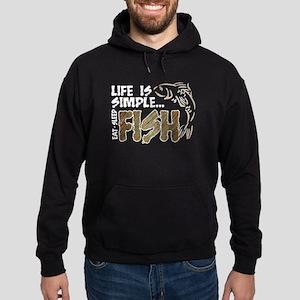 Life Is Simple...FISH Hoodie (dark)