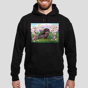 Blossoms / Dachshund Hoodie (dark)