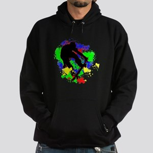 Graffiti Paint Splotches Skateboarde Hoodie (dark)