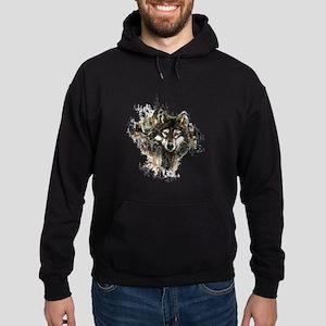 Watercolor Wolf Mountain Art Hoodie