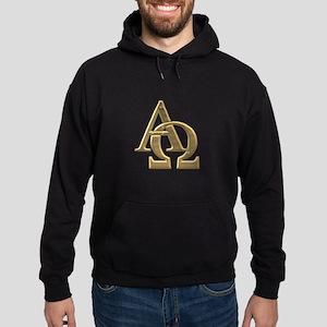 """""""3-D"""" Golden Alpha and Omega Symbol Hoodie (dark)"""