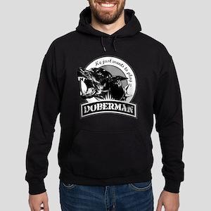Doberman black/white Hoodie (dark)