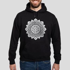 Yoga Mandala Henna Ornate Ohm Crown Black Hoodie