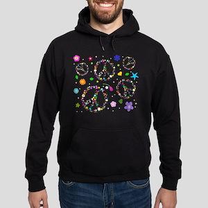 Peace symbols and flowers pat Hoodie (dark)