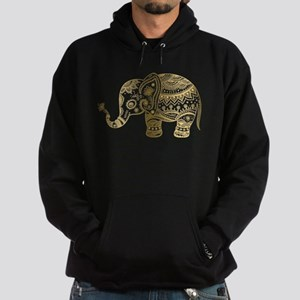 Gold tones cute tribal elephant illu Hoodie (dark)