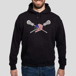 American Flag Lacrosse Helmet Hoodie (dark)