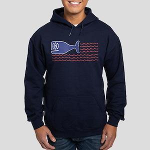 Whale Nantucket Flag Hoodie (dark)