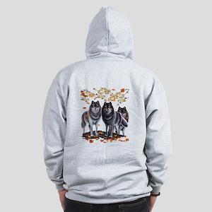 Wolves In Fall Zip Hoodie