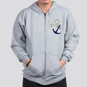 Blue Anchor with Heart Rope Zip Hoodie