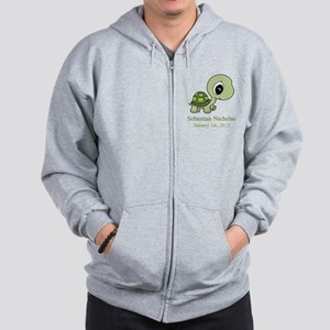 CUSTOM Green Baby Turtle w/Name and Date Zip Hoodi