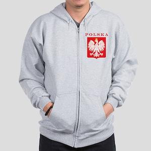 Polska Eagle Red Shield Zip Hoodie