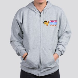 Cancer Messed With The Wrong Chick Zip Hoodie