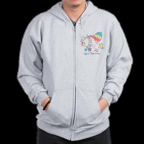 Unicorn Rainbow Star Zip Hoodie