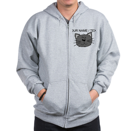 Custom Grey Cat Face Zip Hoodie