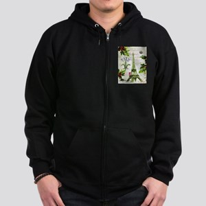 Vintage French Christmas in Paris Zip Hoodie