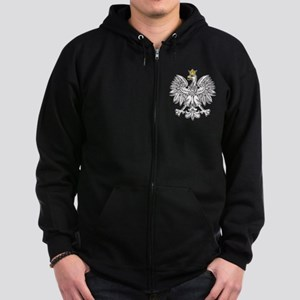 Polish Eagle With Gold Crown Zip Hoodie (dark)