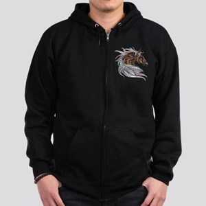 Warm colors horse drawing Zip Hoodie (dark)