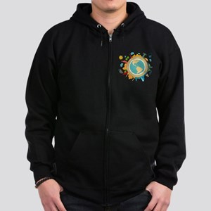 World Travel Landmarks Zip Hoodie (dark)