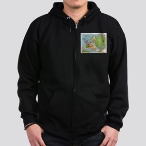 Map of Europe Zip Hoodie