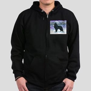 Belgian Sheepdog In Snow Zip Hoodie (dark)