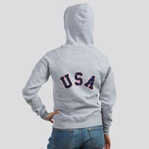 Vintage Team USA [back] Women's Zip Hoodie