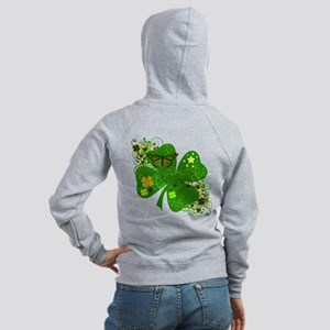 Fancy Irish 4 leaf Clover Women's Zip Hoodie