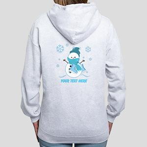 Cute Personalized Snowman Women's Zip Hoodie