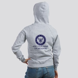 PERSONALIZED US Navy Blue White Zip Hoodie