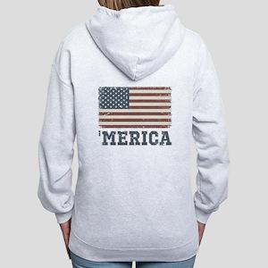 'Merica Flag Vintage Women's Zip Hoodie