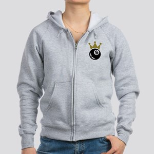 Eight ball billiards crown Women's Zip Hoodie