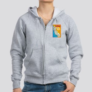 California Map Greetings Women's Zip Hoodie