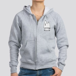Snoopy on House Black and White Women's Zip Hoodie