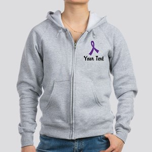Personalized Purple Ribbon Awar Women's Zip Hoodie