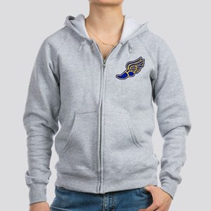 Blue and gold track foot Women's Zip Hoodie