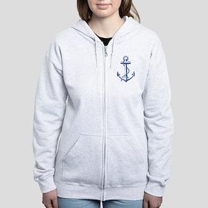 vintage navy blue anchor Zip Hoodie