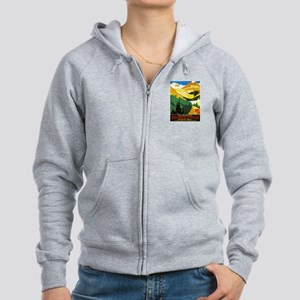 Canada Travel Poster 7 Women's Zip Hoodie