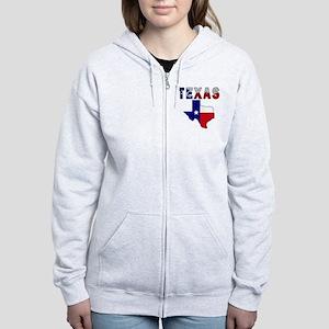 Flag Map With Texas Women's Zip Hoodie