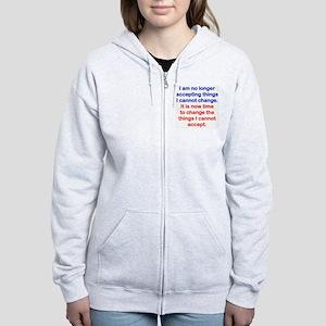 I AM NO LONGER ACCEPTING THINGS Women's Zip Hoodie