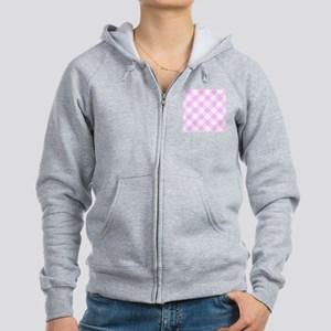 Pale Pink and White Gingham Women's Zip Hoodie