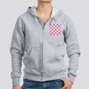 Pale Violet Red and White Gingh Women's Zip Hoodie