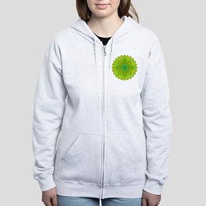 Green Yellow Earth Mandala Shir Women's Zip Hoodie
