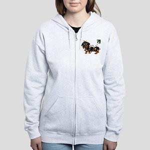 Dachshund (Blk/Tan)... Women's Zip Hoodie