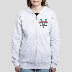 Detroit Muscle red n blue Women's Zip Hoodie