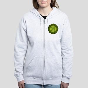 Green Flower Heart Chakra Manda Women's Zip Hoodie