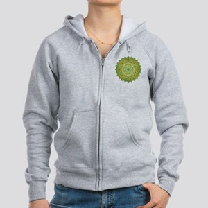 Green Gold Heart Chakra Mandala Women's Zip Hoodie