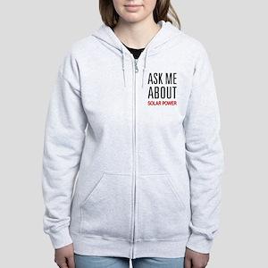 Ask Me About Solar Power Women's Zip Hoodie
