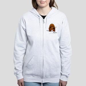 BassetDroolMirrorDark Women's Zip Hoodie