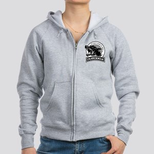 Doberman black/white Women's Zip Hoodie